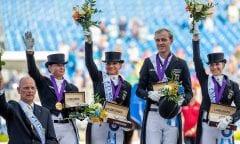 RÖSER Klaus (Chef d´Equipe), WERTH Isabell (GER), SCHNEIDER Dorothee (GER), ROTHENBERGER Sönke (GER), WERTH Isabell (GER) Tryon - FEI World Equestrian Games™ 2018 Siegerehrung Grand Prix de Dressage Teamwertung und Einzelqualifikation 13. September 2018 © www.sportfotos-lafrentz.de/Stefan Lafrentz