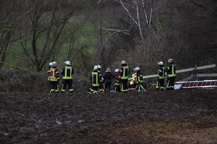 Komplizierte Rettung am Hang: Ein Pferd stürzte hinunter Foto: Feuerwehr Bonn