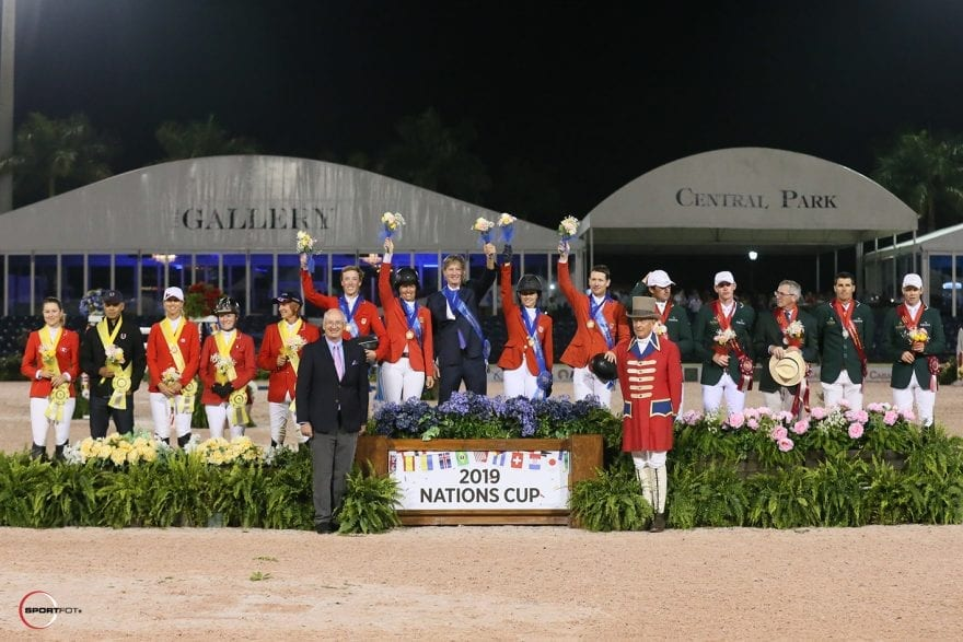 The top three teams of the $150,000 Nations Cup CSIO4*: USA, Ireland, and Canada. Photo © Sportfot.