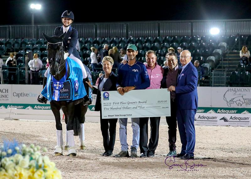 Katherine Bateson Chandler and Alcazar in their presentation with judge Jane Weatherwax, Carl Chandler, Allyn Mann of Adequan®, Scott Durkin, President and COO of Douglas Elliman Real Estate, and Michael Stone, President of Equestrian Sport Productions. Photo © SusanStickle.com