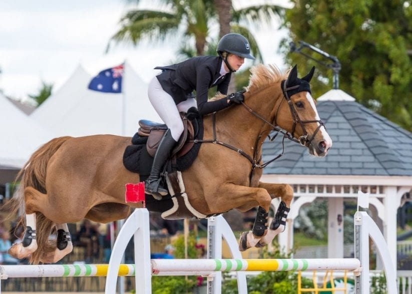 Eve Jobs riding Venue d'Fees des Hazalles to second place in the $209,000 CSIO4* Grand Prix, presented by Lugano Diamonds, during Week 8 at the Winter Equestrian Festival in Wellington, FL. Photo by Jump Media.