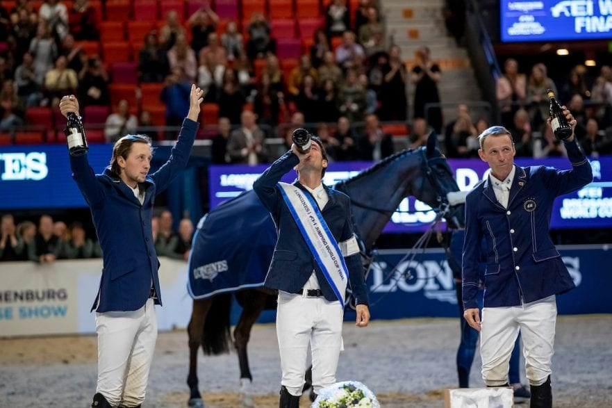 FUCHS Martin (SUI), GUERDAT Steve (SUI), FREDRICSON Peder (SWE) Göteborg - Gothenburg Horse Show 2019  Longines FEI World Cup™ Jumping Final III - Prix giving ceremony Int. jumping competition over two rounds not against the clock with jump-off in case of point egality (1.50 - 1.60 m) Longines FEI Jumping World Cup™ Final and FEI Dressage World Cup™ Final 07. April 2019 © www.sportfotos-lafrentz.de/Stefan Lafrentz