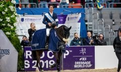 GUERDAT Steve (SUI), Alamo Göteborg - Gothenburg Horse Show 2019  Longines FEI World Cup™ Jumping Final III - Prix giving ceremony Int. jumping competition over two rounds not against the clock with jump-off in case of point egality (1.50 - 1.60 m) Longines FEI Jumping World Cup™ Final and FEI Dressage World Cup™ Final 06. April 2019 © www.sportfotos-lafrentz.de/Stefan Lafrentz