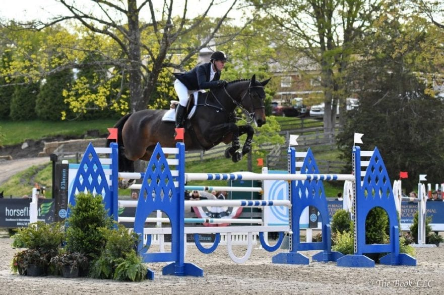 McLain Ward of Brewster, NY, won the $10,000 Old Salem Farm Speed Stake CSI3* riding Noche de Ronda on Wednesday, May 15, during the 2019 Old Salem Farm Spring Horse Shows at Old Salem Farm in North Salem, NY. Photo by The Book