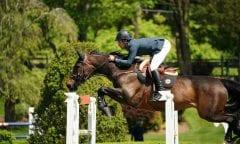 Daniel Bluman (ISR) won the ,700 Old Salem Farm Jumper Classic CSI3* riding Sancha LS on Saturday, May 18, during the 2019 Old Salem Farm Spring Horse Shows at Old Salem Farm in North Salem, NY. (Photo by The Book LLC)