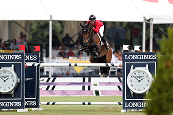 Reigning Canadian Show Jumping Champions Nicole Walker and Falco van Spieveld were Canada's top performers in the Longines FEI Jumping Nations Cup™ Mexico.  Photo by Anwar Esquivel