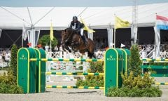 Darragh Kenny and Balou du Reventon flying to victory in the Rolex Grand Prix presented by Audi. Photo © Pierre Costabadie/Scoopdyga.