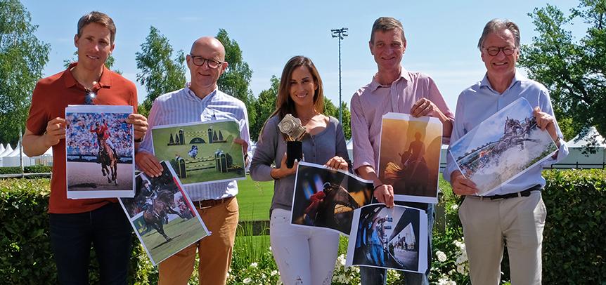 Das Foto zeigt die Jury (v.l.): Henrik von Eckermann, Andreas Müller, Janika Sprunger, Eric Knoll und Frank Kemperman. (Foto: CHIO Aachen)