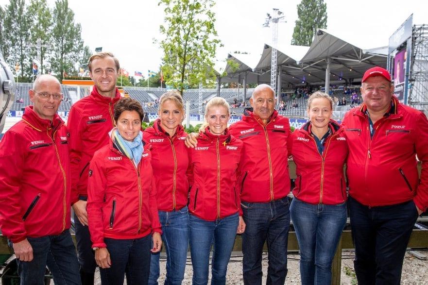 RÖSER Klaus (Equipechef), THEODORESCU Monica (Bundestrainer Dressur), ROTHENBERGER Soenke (GER), SCHNEIDER Dorothee (GER), HILBERATH Jonny (Co-Bundestrainer Dressur),  VON BREDOW-WERNDL Jessica (GER), WERTH Isabell (GER), KOENE Dr. Marc (Tierarzt Dressur) Rotterdam - Europameisterschaft Dressur, Springen und Para-Dressur 2019 Team Deutschland Gruppenbild 19. August 2019 © www.sportfotos-lafrentz.de/