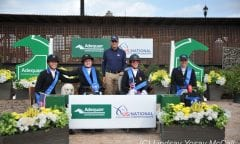 Sydney Collier (second left) celebrated the U.S. Para Dressage team Nations Cup win with her teammates Kate Shoemaker (left), Roxanne Trunnell (second left), and Rebecca Hart (right), and Chef d'Equipe Michel Assouline. Photo by Lindsay Y. McCall