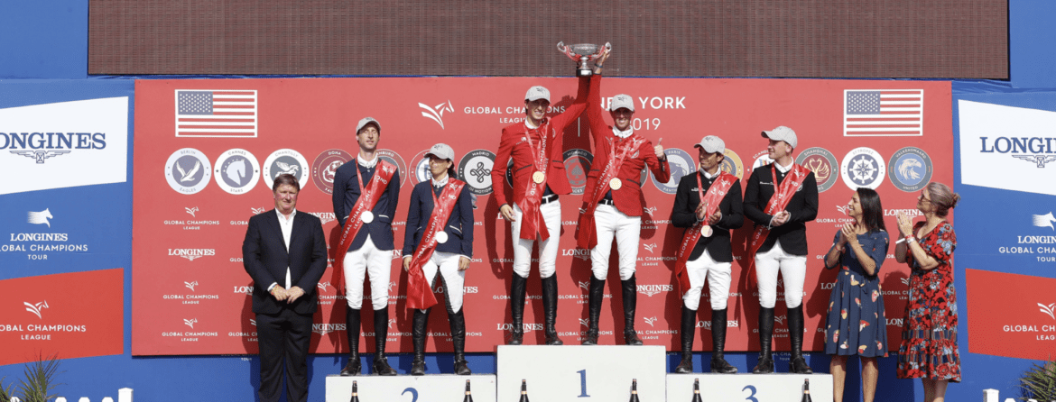 The London Knights celebrated an overall GCL Championship title at the top of the podium with the St. Tropez Pirates taking silver and Madrid in Motion bronze. Photo by GCL/Stefano Grasso
