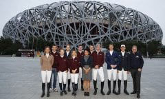 The international riders together with the organisers Jing Li from Dashing Equestrian (middle) Frank Kemperman (right) and Michael Mronz (2nd f.t.l.) from Aachener Reitturnier GmbH in front of the Chinese National Stadium