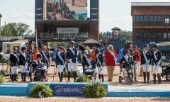 Team GBR, Team NED, Team GER, Tryon - FEI World Equestrian Games™ 2018 Siegerehrung Medaillenvergabe Para-Dressur Teamentscheidung 21. September 2018 © www.sportfotos-lafrentz.de/Sharon Vandeput