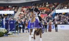 Denmark's Cathrine Dufour and Atterupgaards Cassidy stole Swedish hearts when winning tonight's tenth leg of the FEI Dressage World Cup™ 2019/2020 Western European League at the Scandinavium Arena in Gothenburg (SWE). (FEI/Satu Pirinen)