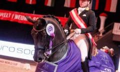 81,848% und Platz eins im FEI Dressage World Cup™ Grand Prix von Salzburg für Isabell Werth (GER) und Weihegold OLD. © EQWO.net