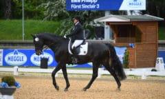 Die Bayerin Elke Philipp fand durch Hippotherapie zum Pferd - heute siegte sie mit Fürst Sinclair in der Kür (Grade I). Foto: Hubert Fischer